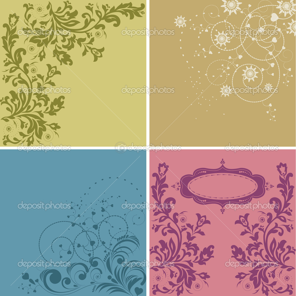 Floral set hand drawn cards with flowers  — Stock Vector #6608438