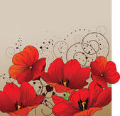 赤いチューリップと花の背景 — ストックベクタ