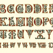 Stock vektor: Alphabet Medieval and Romnumerals