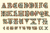 Alphabet Medieval and Roman numerals — Vector de stock