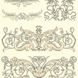 Set of five classical ornaments - Stock Vector