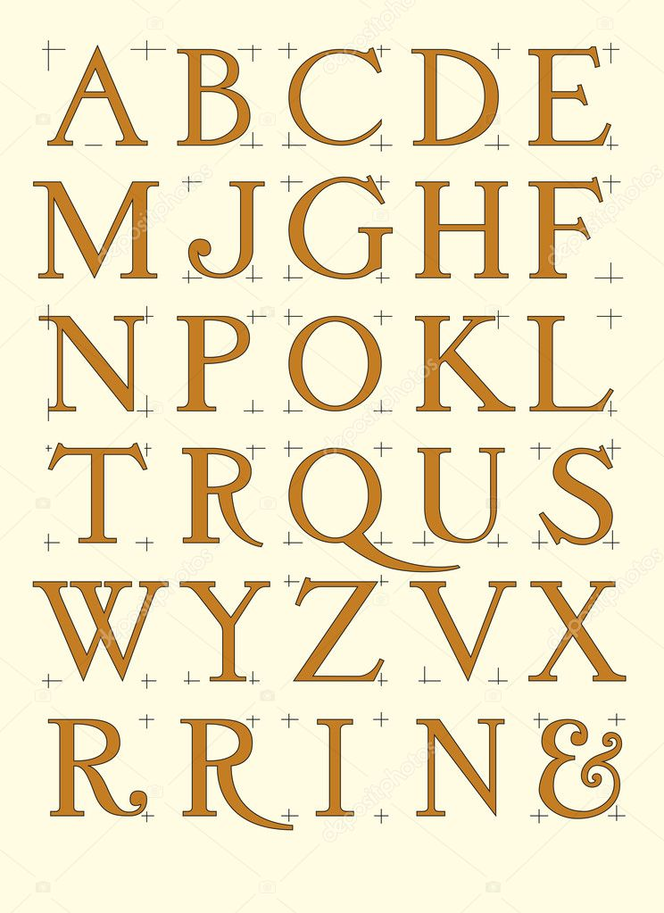 Modern roman alphabet — Stock Vector © paulrommer #6364447