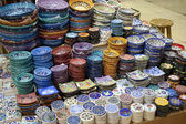 Turkish pottery for sale at Grand Bazaar in Istanbul — Stock Photo