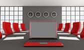 Red and black meeting room — Stock Photo