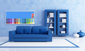 Blue living room — Stock Photo