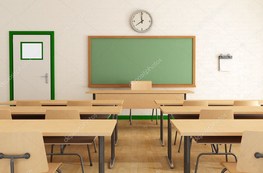 Classroom without students with wooden furniture and green blackboard on brick-wall-rendering — Stock Photo #6068697