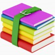 Colorful books with green belt — Stock Photo