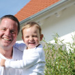 Father - son portrait, laughing heartily — Stock Photo