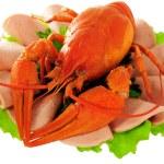 Постер, плакат: Red crayfish on saucer