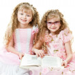 Royalty-Free Stock Photo: Twin princesses reading a book