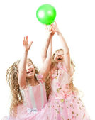 Twin sisters playing — Stock Photo