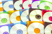 Colorful CDs in boxes — 图库照片