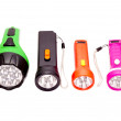 Four differently colored LED flashlight — Stock Photo