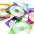 Colorful CDs in boxes — Stock Photo #5491224