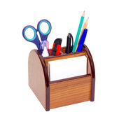 Office wooden stand for pens and pencils — Stock Photo