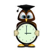 La chouette et l'horloge — Stock Photo