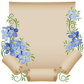 Old scroll. Flowers. Forget-me-not. — Stock Vector