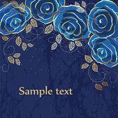 Carta d'epoca con rose e decorazione oro — Vettoriale Stock