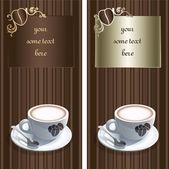 コーヒーのマグカップとビンテージのカード — ストックベクタ