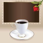 винтажная открытка с чашкой кофе и сердце в форме розы — Cтоковый вектор