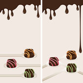 Banners with pralines and chocolate drops — Stock Vector
