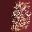 Vintage floral card with gold roses - Image vectorielle