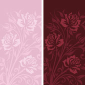 Vintage banners with roses silhouette — Stock Vector