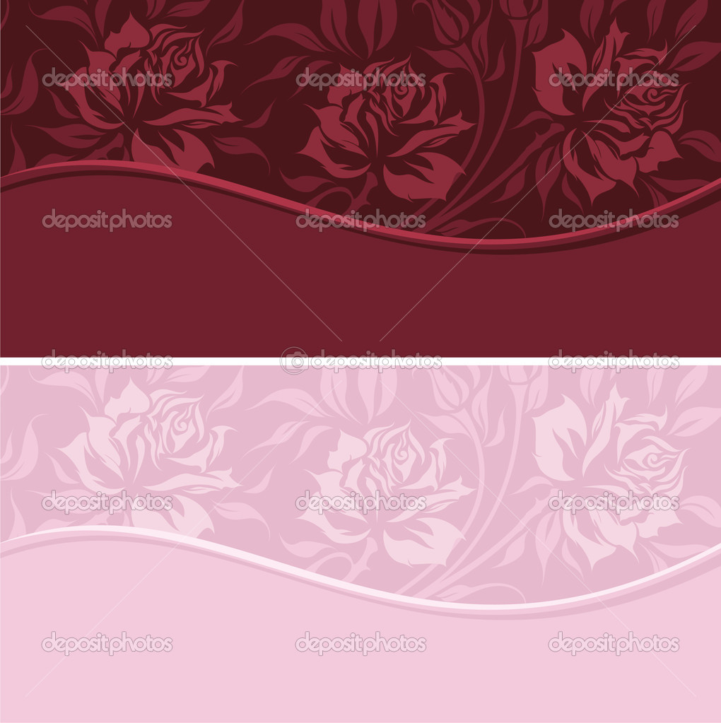 Vintage banners with roses silhouette — Stock Vector #5849392