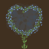 Greeting card with heart shaped floral frame. Forget-me-not. — Cтоковый вектор