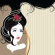 Vector de stock : Vintage postcard. Beautiful girl head with rose and jewerly on hair.