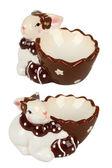 Easter сeramic egg cup, rabbit — Stock Photo