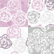 Abstract seamless floral rose pattern set — Imagens vectoriais em stock