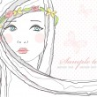 Cтоковый вектор: Cute greeting, birthday card or invitation with girl and flowers in hair