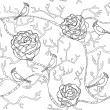 Abstract black and white seamless flower pattern with roses and birds — Imagen vectorial