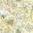 Abstract seamless doodle flowers and hearts pattern with dots — Image vectorielle