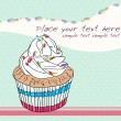 Stok Vektör: Cute birthday card with cupcake
