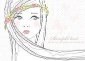 Saluto carino, biglietto d'auguri o invito con ragazza e fiori nei capelli — Vettoriale Stock