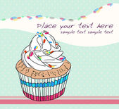 Cute birthday card with cupcake — Vector de stock
