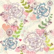 Cute colorful seamless pattern, wallpaper or background with flowers and he — Vettoriale Stock #6122438