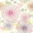 Cute colorful seamless pattern, wallpaper or background with flowers and he — Imagens vectoriais em stock