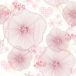 Cute pink seamless pattern, wallpaper or background with flowers and he — Imagens vectoriais em stock