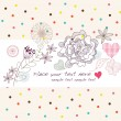 Cute colorful background with flowers and hearts - Stock Vector