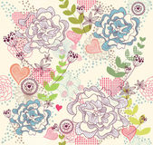 Cute colorful seamless pattern, wallpaper or background with flowers and he — Vecteur