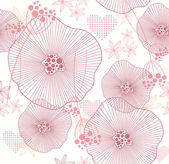 Cute pink seamless pattern, wallpaper or background with flowers and he — Stock Vector