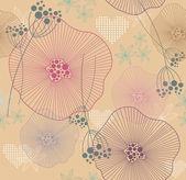 可爱无缝炫彩花纹、 壁纸或背景与花的心 — 图库矢量图片