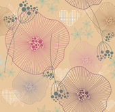 Cute seamless colorful pattern, wallpaper or background with flowers hearts — ストックベクタ