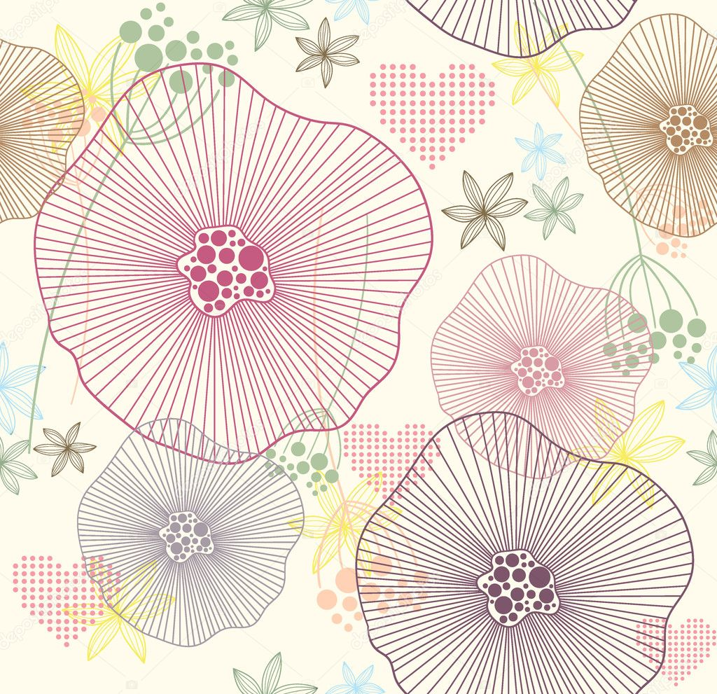 Cute colorful seamless pattern, wallpaper or background with flowers ...
