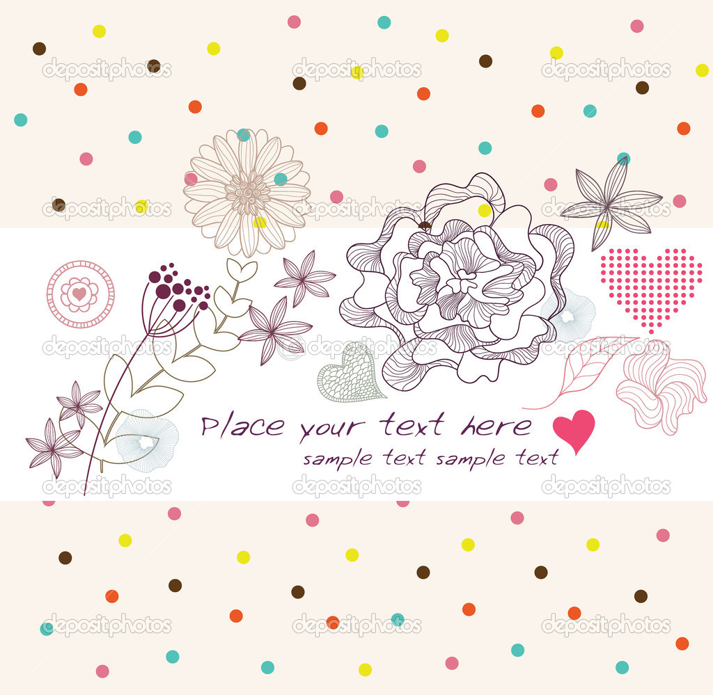 Cute colorful background, birthday car or invitation  with flowers and hearts — Stock Vector #6122690