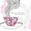 Stockvector : Coffee and tecup background with abstract doodle pattern.