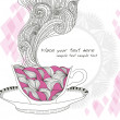 Stok Vektör: Coffee and tecup background with abstract doodle pattern.